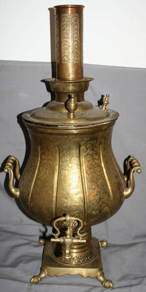 TURKISH HANDCHASED BRASS SAMOVAR C 1900