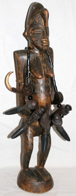 090069 AFRICAN CARVED WOOD FEMALE FIGURE H 26 W 5