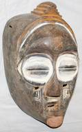 090067 AFRICAN POLYCHROME  CARVED WOOD MASK H 14