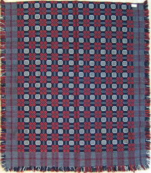 Pennsylvania red white and blue overshot coverlet 19th c