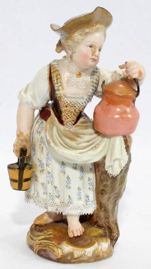 081092 MEISSEN FIGURE OF A GIRL WITH KETTLE 19TH C