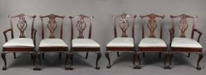Set of 6 Chippendale Style Mahogany Dining Chairs