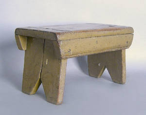 Mortised foot stool in old gray paint