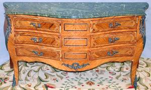 082119 FRENCH STYLE MARBLE TOP COMMODE H 34 L 64