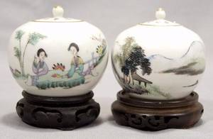 070121 CHINESE PORCELAIN TEA JARS 20TH CENTURY TWO