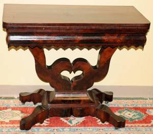 062173 EMPIRE MAHOGANY CARD TABLE C 1840 H 30 W 17