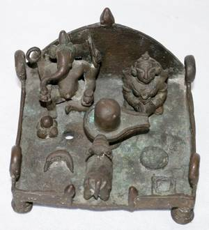 061228 HINDU BRONZE FIGURAL GROUP 5 X 4 12