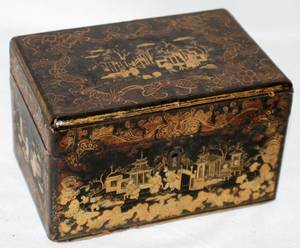 061217 JAPANESE LACQUER TEA CADDY 19TH C H 3 L 6