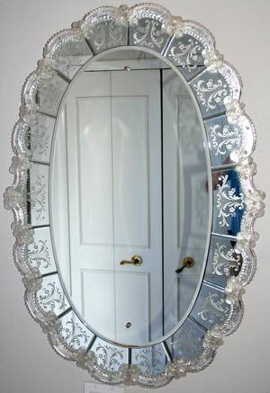 110156 ITALIAN STYLE BEVELED GLASS MIRROR H 38 W 26