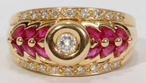 102174 14KT RUBY  DIAMOND RING
