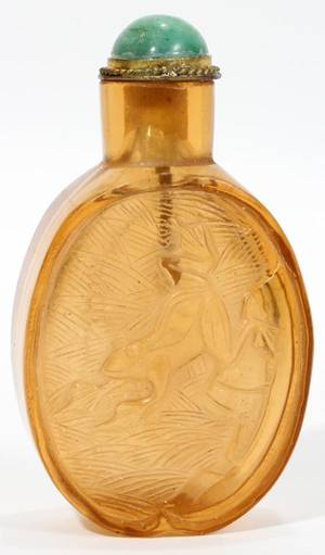 CHINESE CARVED YELLOW GLASS SNUFF BOTTLE