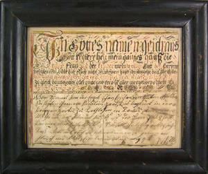Pennsylvania watercolor and ink Vorschrift dated 1791