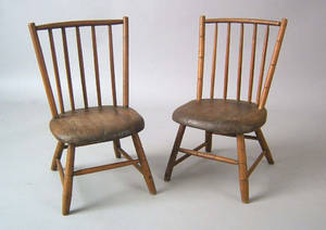 Pair of childs rodback windsor side chairs ca 1830