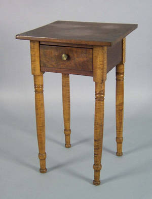 Pennsylvania walnut and tiger maple one drawer stand 19th c
