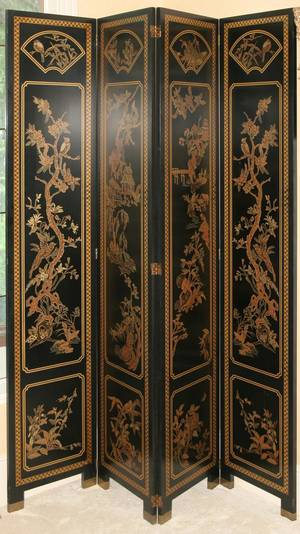 071161 LACQUERED WOOD FOURPANEL SCREEN H 84 W 64