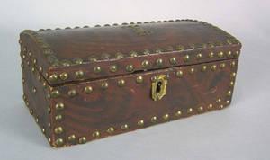 Pine dome lid lock box 19th c