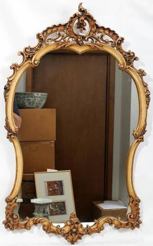 111292 FRENCH STYLE GILT WOOD WALL MIRROR H 43 W 28