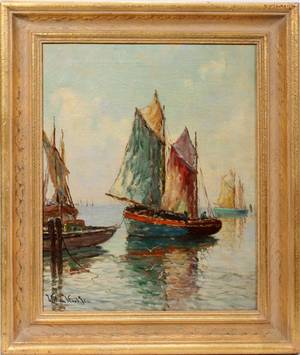 102233 WILLIAM WARD JR OIL ON CANVAS 20 X 16 HARBOR