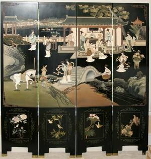 CHINOISERIE STYLE 4PANEL SCREEN H 72 W 64