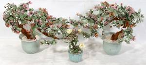 080242 CHINESE HARD STONE MINIATURE TREES AND ROSE PLA