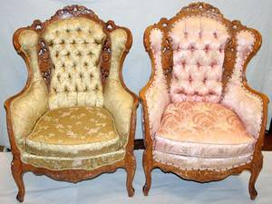 080234 VICTORIAN STYLE CARVED WALNUT WING BACK CHAIRS