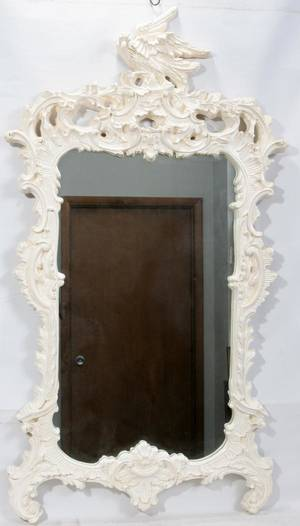 080230 FEDERAL STYLE PAINTED WOOD  GESSO MIRROR H 59