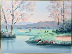 070207 SIGNED LEE OIL ON CANVAS 36 X 48 GOLF