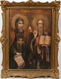 062265 RUSSIAN OIL ON CANVAS ICON 19TH C 28 X 19