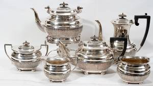 112286 ENGLISH SILVER PLATE COFFEE  TEA SERVICE SIX