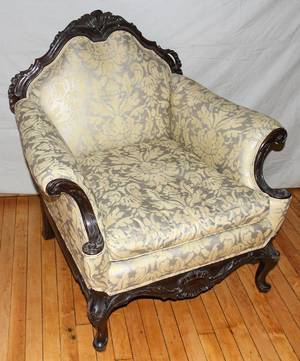 112246 VICTORIAN MAHOGANY UPHOLSTERED ARM CHAIR