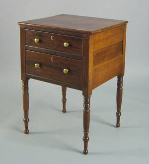 Pennsylvania Sheraton cherry and mahogany work stand ca 1820