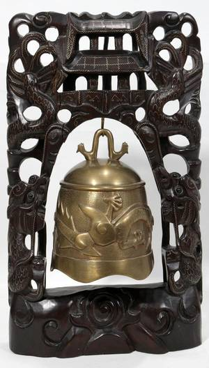 111328 CHINESE TEMPLE BELL IN CARVED WOOD FRAME H 15