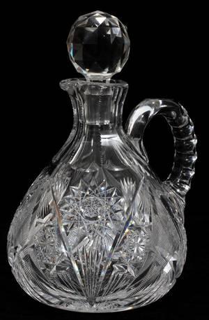 110223 CUT GLASS DECANTER H 9 W 6