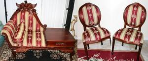 102264 HANDCARVED MAHOGANY PARLOR CHAIRS 3 EAGLE
