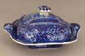 Historical blue Staffordshire covered vegetable 19th c