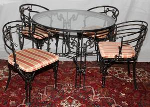 IRON TERRACE TABLE WITH GLASS TOP  FOUR CHAIRS