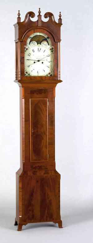 Pennsylvania Federal mahogany tall case clock early 19th c