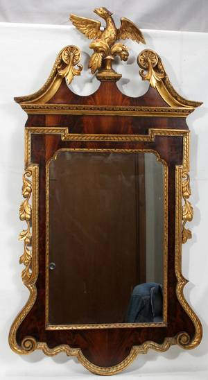 090218 FEDERAL STYLE MAHOGANY  GILT WOOD MIRROR H 49