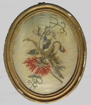 Three English floral silkwork pictures