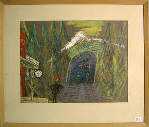 Two mixed media scenes of Paris and the Arlberg Tunnel