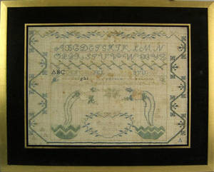 Pennsylvania silk on linen sampler wrought by Sarah Smith 19th c