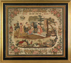 Reading Pennsylvania wool needlework dated 1840 and wrought by Louisa Kitting