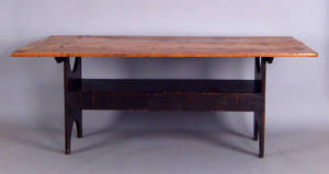 Massive Pennsylvania painted pine bench table ca 1800
