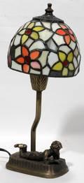 091356 ART DECO STYLE LEADED GLASS MINIATURE LAMP