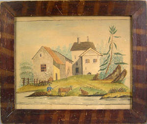 Pennsylvania watercolor farm scene mid 19th c