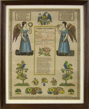 Three printed and hand colored fraktur