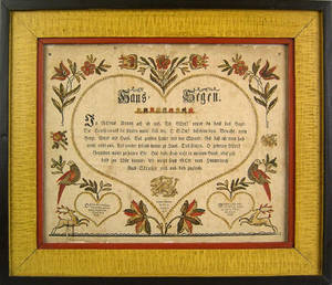 Ephrata Pennsylvania printed and hand colored fraktur dated 1811