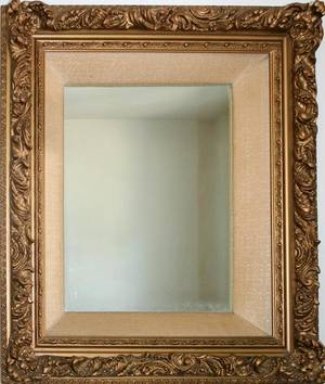 080330 GILT WOOD AND GESSO FRAMED WALL MIRROR H 32