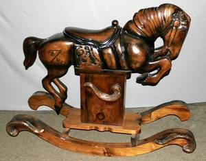 072269 AMERICAN CRAFTSMAN CARVED WOOD ROCKING HORSE
