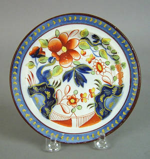 Gaudy Dutch toddy plate 19th c